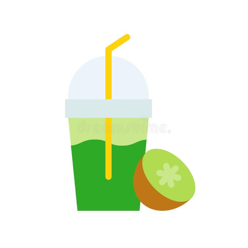 Kiwi frappe vector illustration, Beverage flat style icon vector illustration
