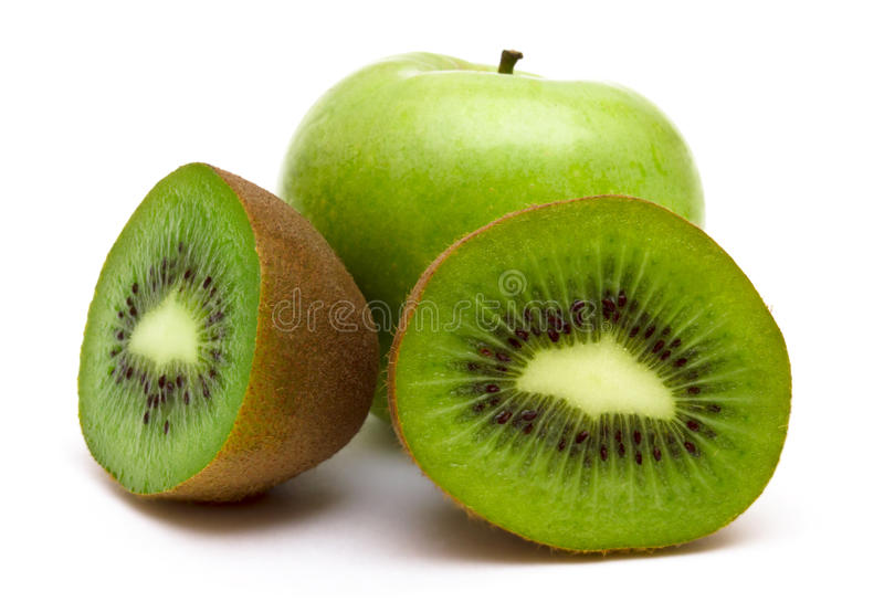 Kiwi fruit. And apple isolated on white background, macro royalty free stock photo