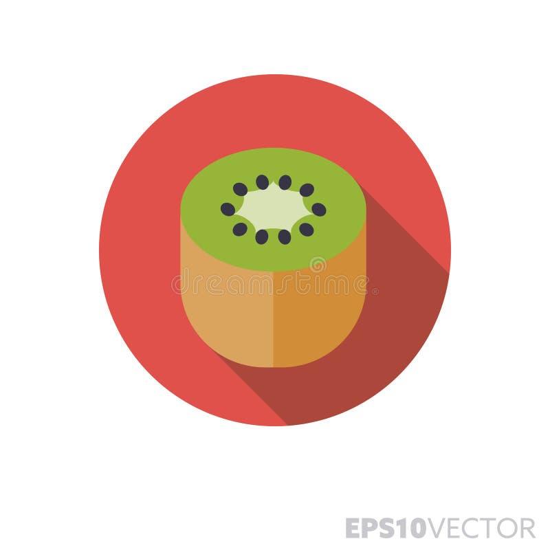 Kiwi fruit flat design long shadow color vector icon stock illustration