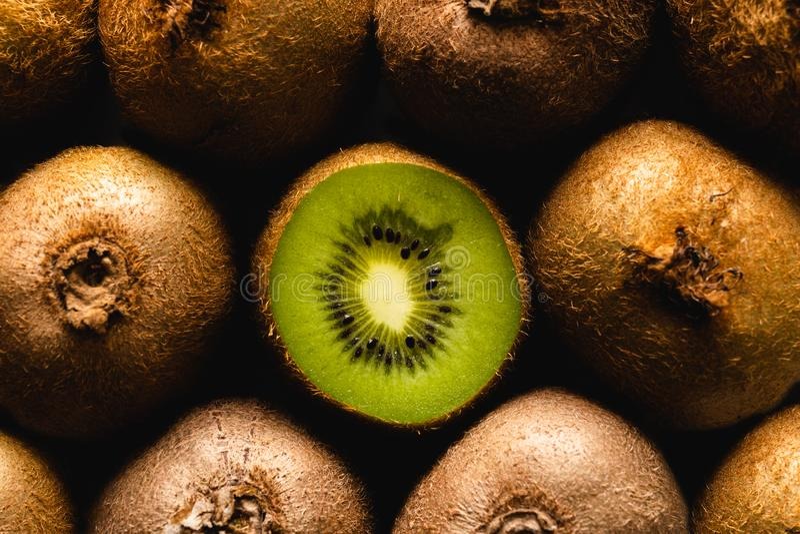 Kiwi Fruit flatlay background one cut stock photos