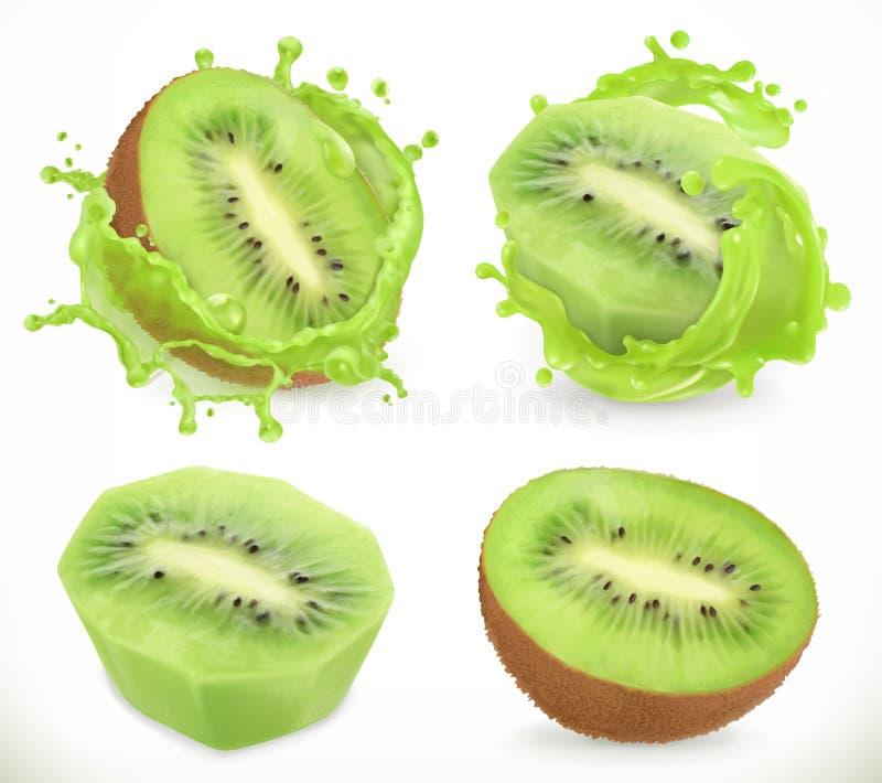 Kiwi fruit juice. Fresh fruits and splash, vector icon stock illustration
