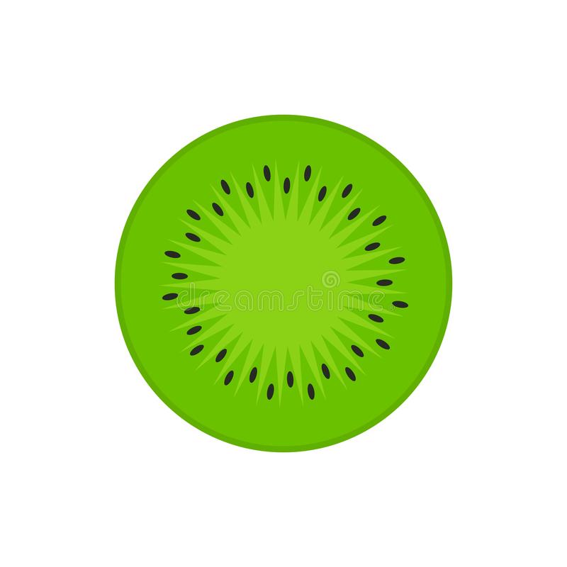 Kiwi fruit, kiwifruit or Chinese gooseberry half cross section flat color vector icon for food apps and websites stock illustration