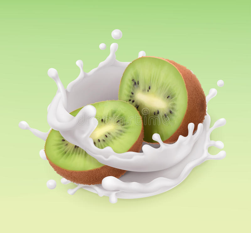 Kiwi fruit and milk splash. Fruit and yogurt. 3d vector icon vector illustration