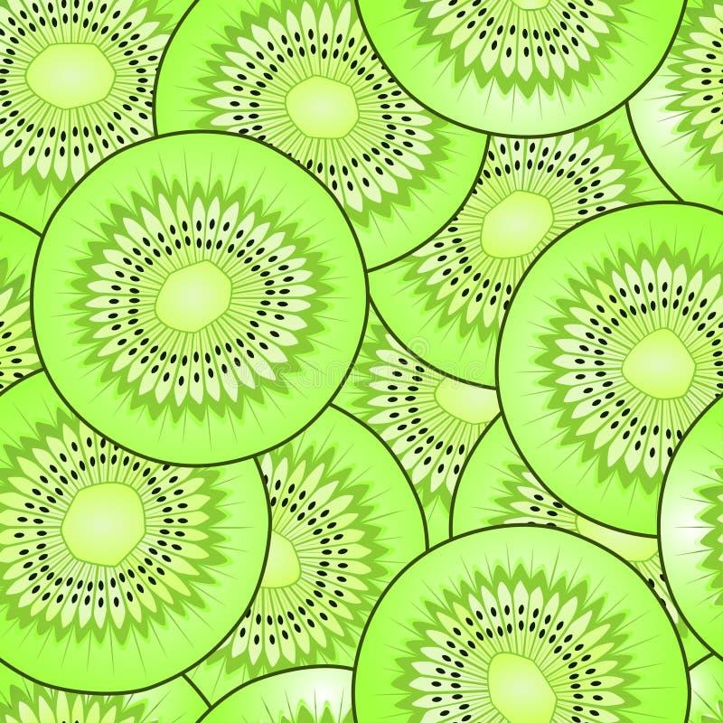 Kiwi fruit seamless vector pattern stock illustration