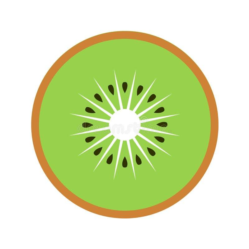 Kiwi fruit slice closeup icon, green round piece of kiwi. Logo design, flat vector illustration. Kiwi fruit slice closeup icon, green round piece of kiwi. Logo royalty free illustration