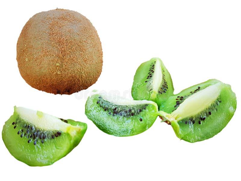 Kiwi fruit with sliced green kiwi fruit. Kiwi exotic fruit with sliced green kiwi slices on a white background stock photography