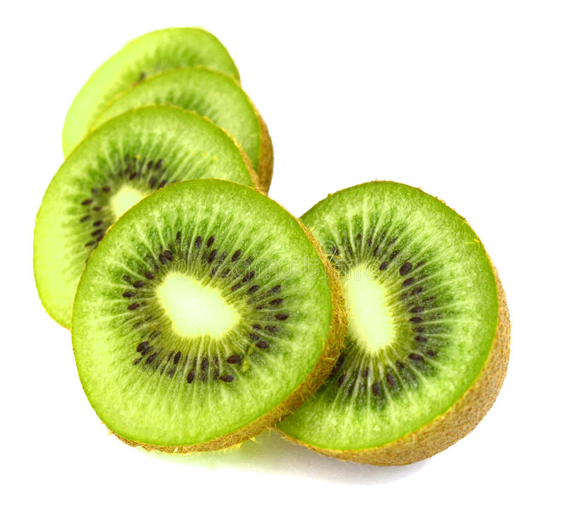 Kiwi fruit Slices. On cutting eating stock photos
