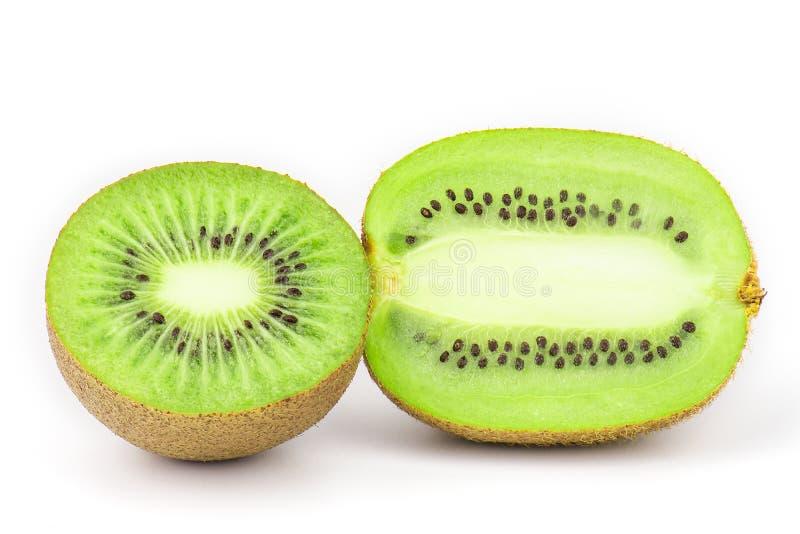 Kiwi fruit slices isolated. Kiwi fruit half slices isolated on white background royalty free stock photo