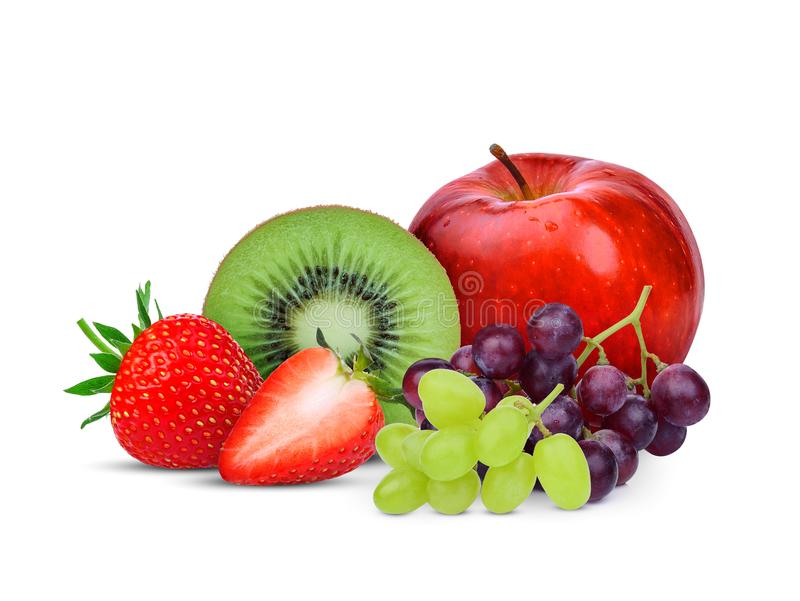 Kiwi fruit,strawberry,grape and red apple isolated on white stock photography