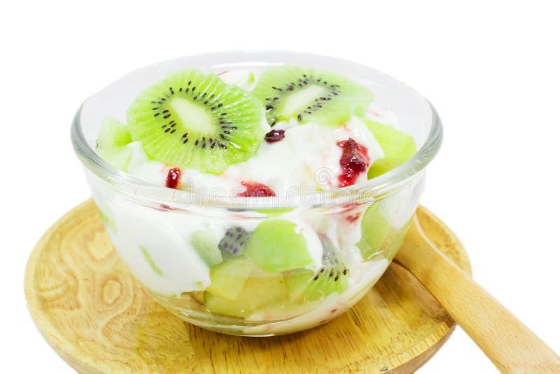Kiwi fruit yogurt stock photography