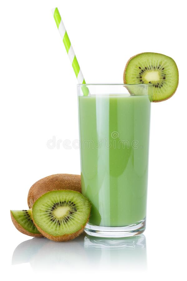Kiwi green smoothie fruit juice drink straw kiwis in a glass isolated on white royalty free stock images