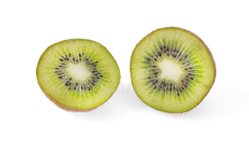 Kiwi Halves Isolated On White stock afbeelding