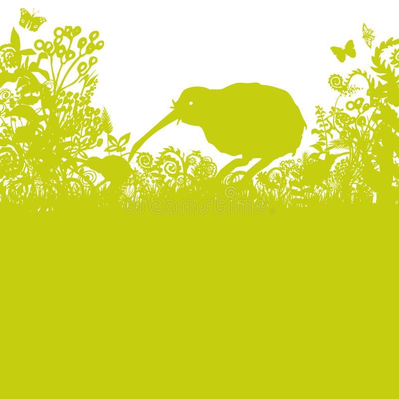 Kiwi i busksnåret royaltyfri illustrationer