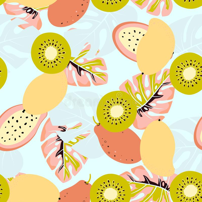 Kiwi i mango wzór ilustracji