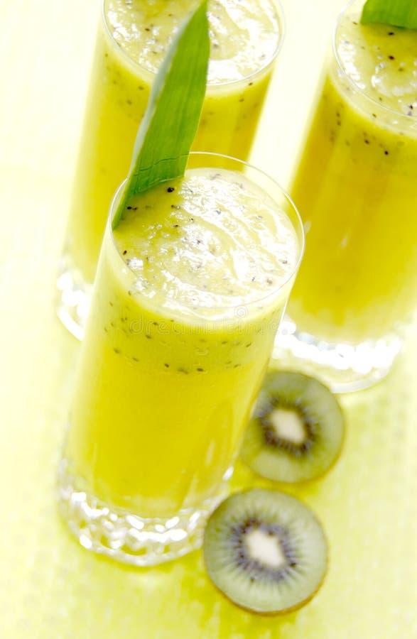 Kiwi Juice. Glasses of kiwi blended juice royalty free stock photography