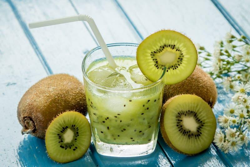 Kiwi juice with fresh fruits stock photos