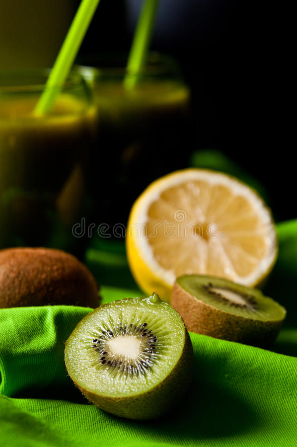 Kiwi juice still life. Still life of healthy food and drink - kiwi juice with added other fruit for best nutrition and health. Whole series with sebczseries928 royalty free stock photo