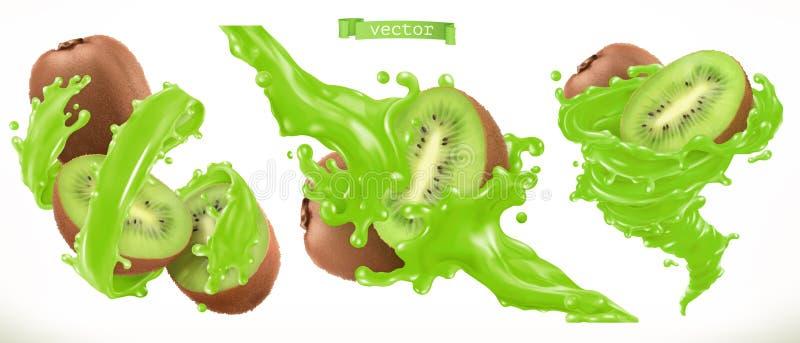 Kiwi Juice Vektorikone der frischen Frucht 3d lizenzfreie abbildung