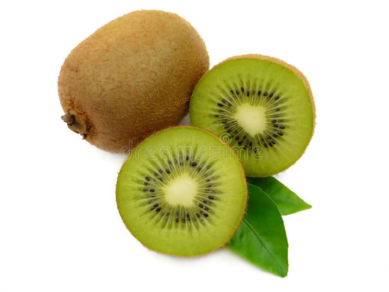 Kiwi with leaves. Isolated sweet kiw with leaves on the white background stock photography