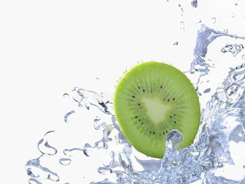 Kiwi med vattenfärgstänk royaltyfri fotografi