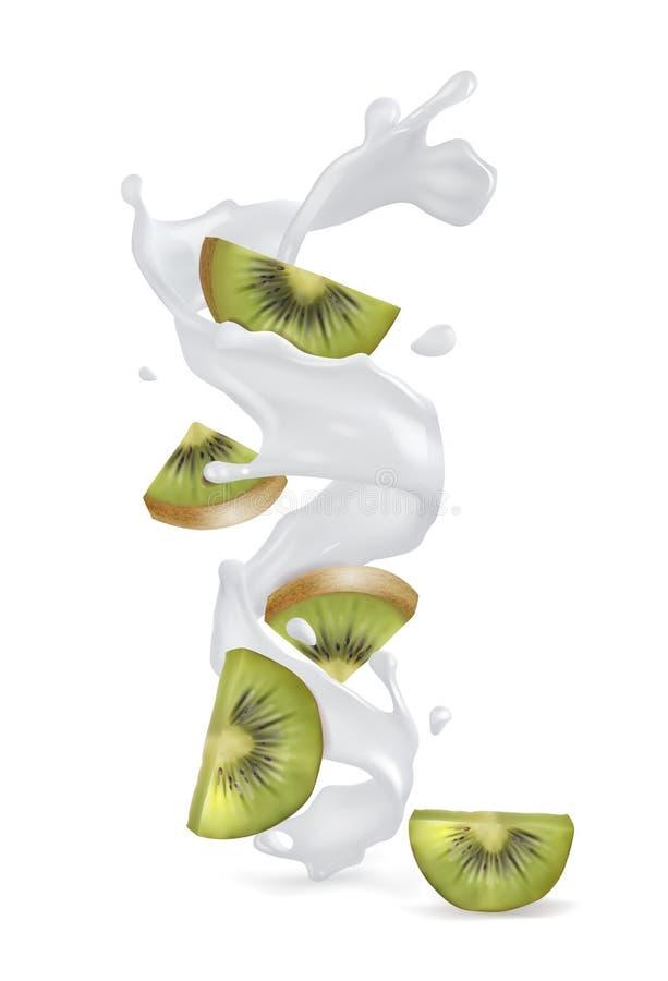 Kiwi mit einem Spritzen des Joghurts oder der Milch vektor abbildung