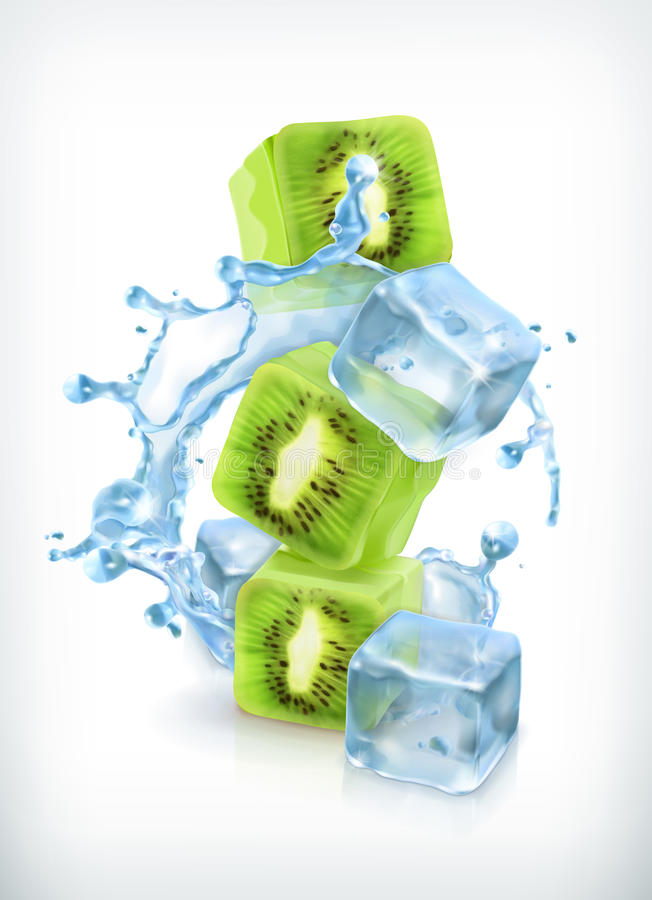 Kiwi mit Eiswürfeln und Wasserspritzen lizenzfreie abbildung