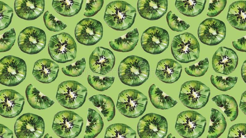 Kiwi owoc t?o Akwareli ilustracja na zielonym tle ilustracji