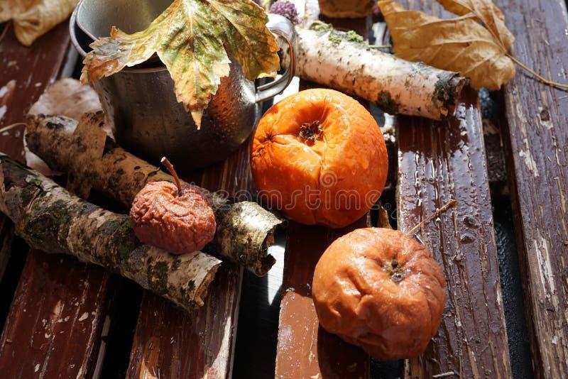 Kiwi, pêche et pomme corrompus, moisis et endommagés sur la vieille table blanche en bois, consommation malsaine photo stock