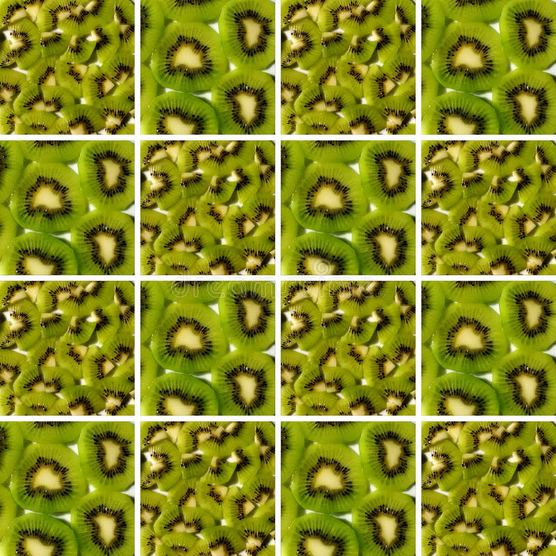 Kiwi pieces and slices inside square shapes. Background made of identical square shapes filled with kiwi textures: kiwi pieces and kiwi slices stock images