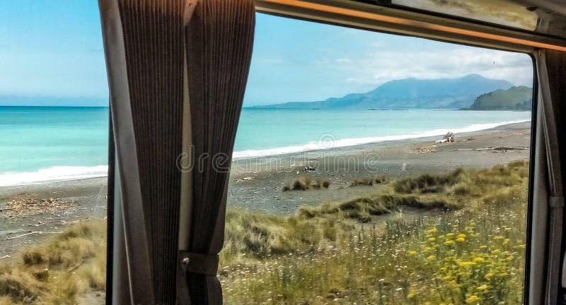 Kiwi Rail Scenic train travel along Kaikora coast. Kiwi Rail Scenic train travel. Coastal Pacific. Tourist attraction in New Zealand. KiwiRail Scenic Journeys stock photography