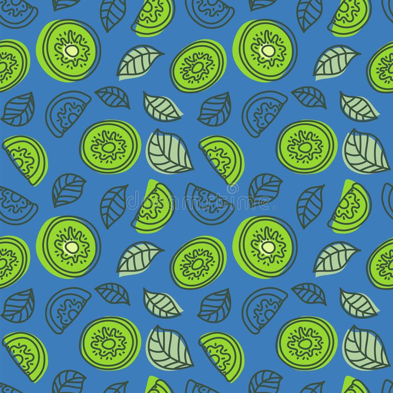 Kiwi seamless pattern. Hand drawn fresh tropical fruit. Multicolored vector sketch background. Colorful doodle wallpaper. Green stock illustration