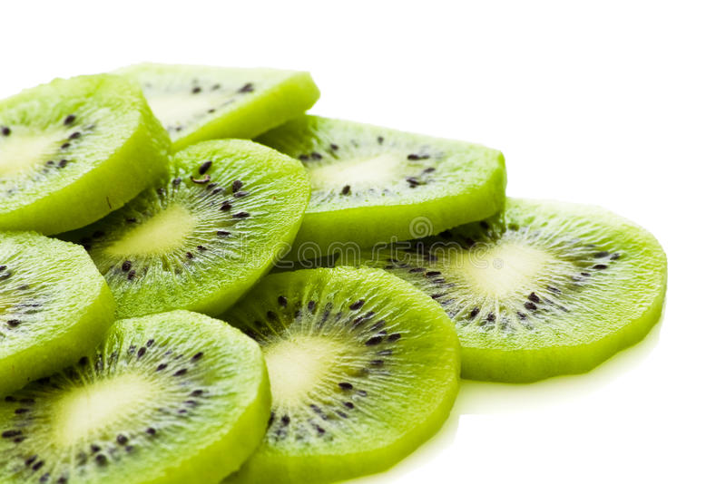 Kiwi slices. Isolated with clipping path royalty free stock image