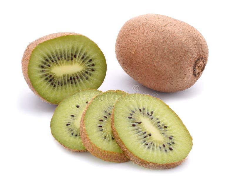Kiwi. Slices and whole fruit isolated on white royalty free stock photo