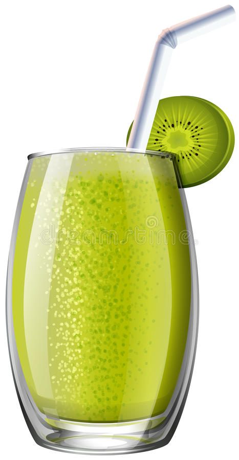 Kiwi smoothie in glas vector illustratie