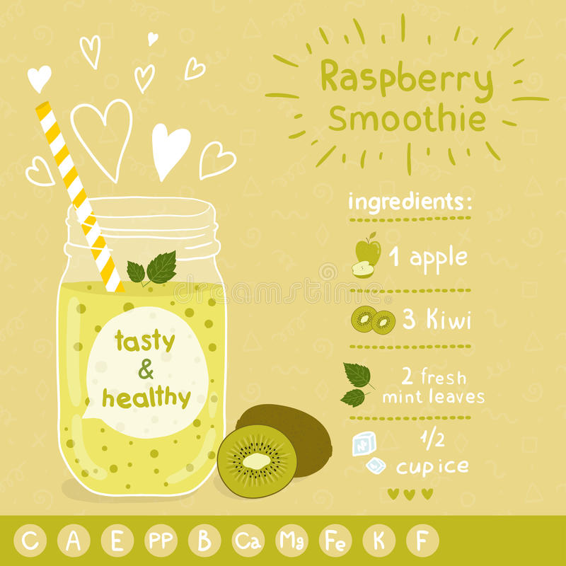 Kiwi smoothie recept vector illustratie