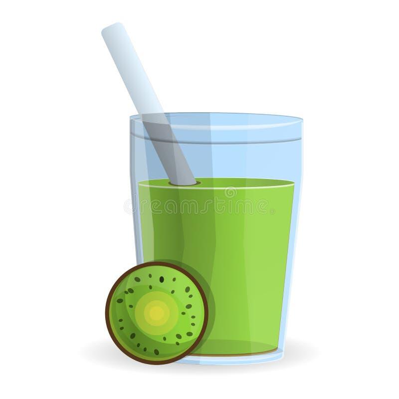 Kiwi smoothie szklana ikona, kreskówka styl ilustracji