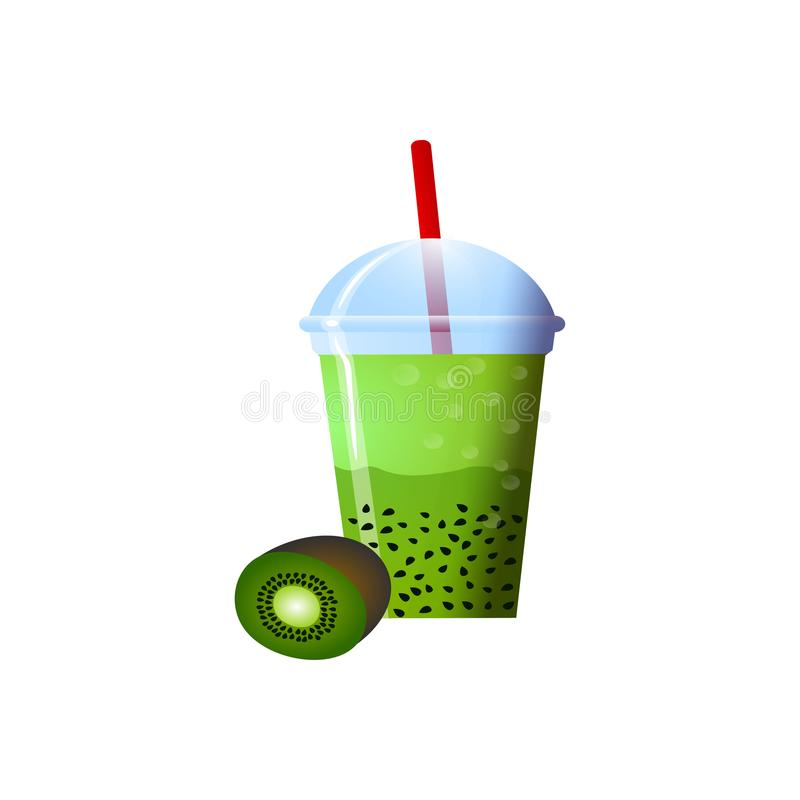 Kiwi smoothies in a cup. Superfoods and health or detox diet food concept in sketch style. Vector illustration of different food products on white vector illustration