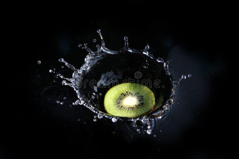 Kiwi Splash. Into dark water stock images