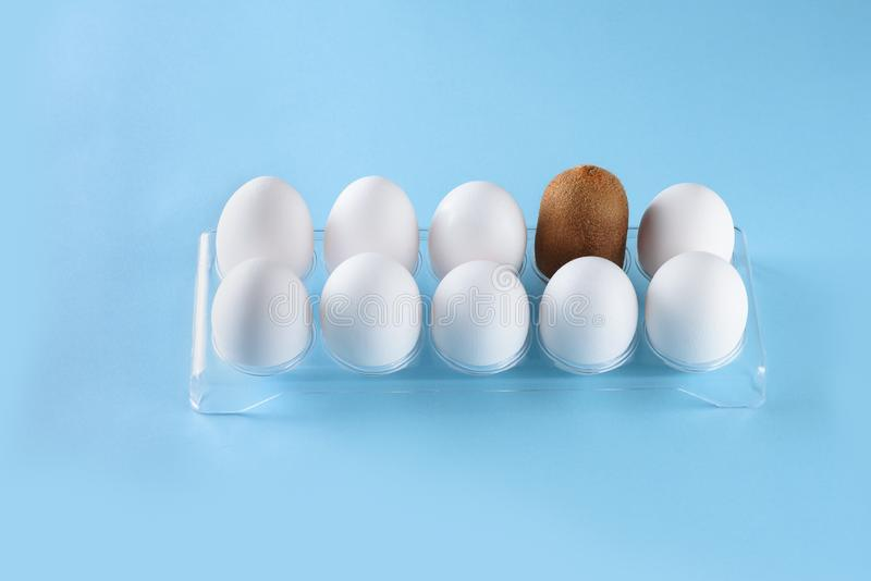 Kiwi standing out from crowd of plenty identical white eggs in plastic box background. Leadership, uniqueness. royalty free stock photos