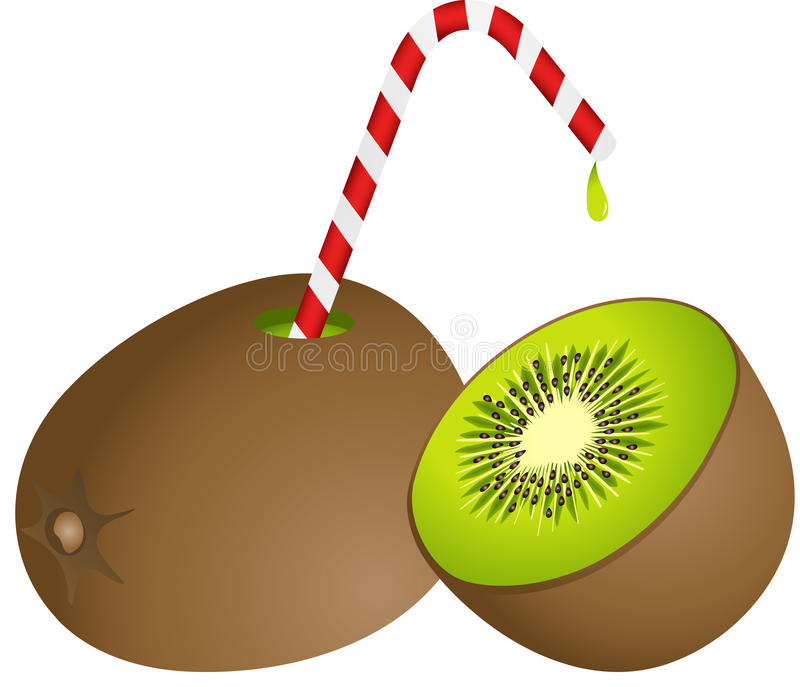Kiwi with Straw. Scalable vectorial image representing a kiwi with straw, isolated on white stock illustration