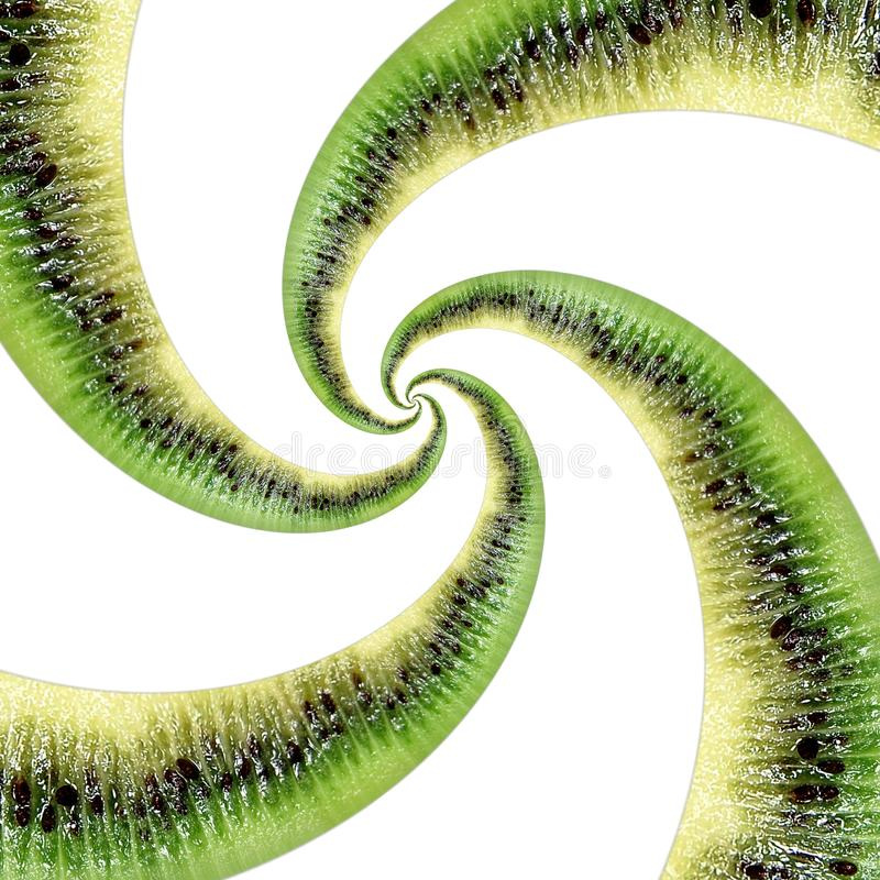 Kiwi tekstury fractal abstrakcjonistyczna spirala odizolowywająca na bielu Kiwi abstrakta zieleni czerni fractal owocowy skutek K obraz royalty free