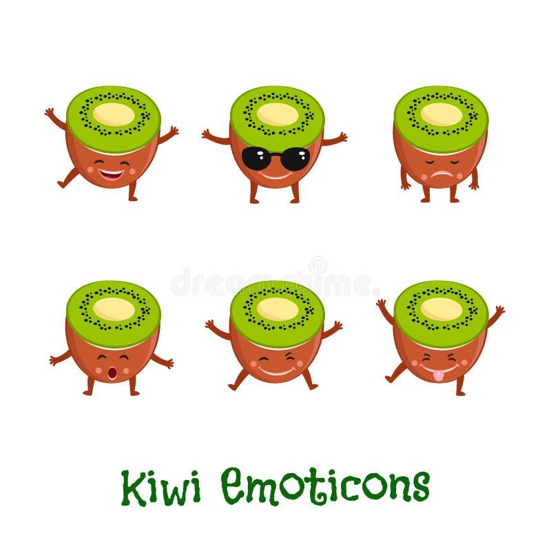 Kiwi uśmiechy Śliczni kreskówek emoticons Emoji ikony royalty ilustracja