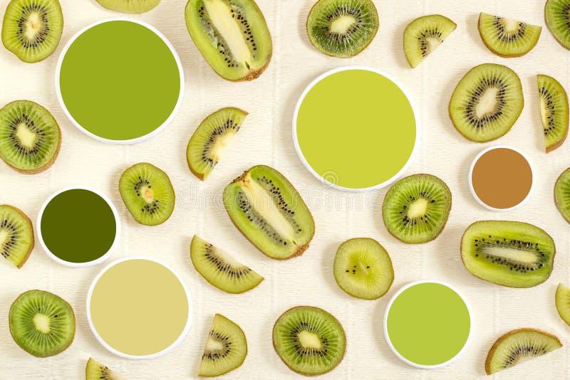 Kiwi- und Farbproben stockfotos