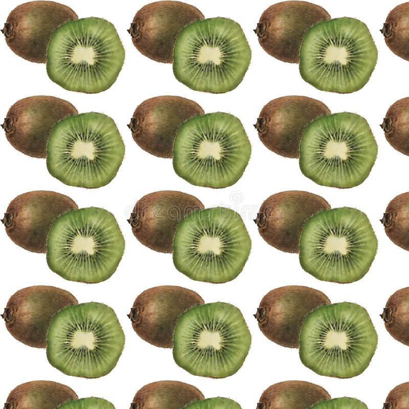Kiwi und Hälftemuster lizenzfreie abbildung