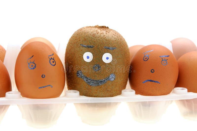 Kiwi und Satz Eier stockfotografie