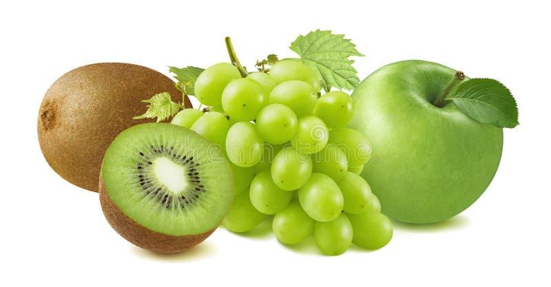 Kiwi, uvas verdes y grupo de la manzana aislados en el fondo blanco imagen de archivo