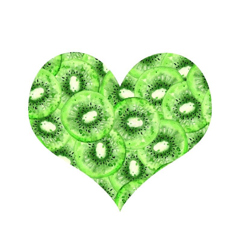 Kiwi verde del cuore royalty illustrazione gratis