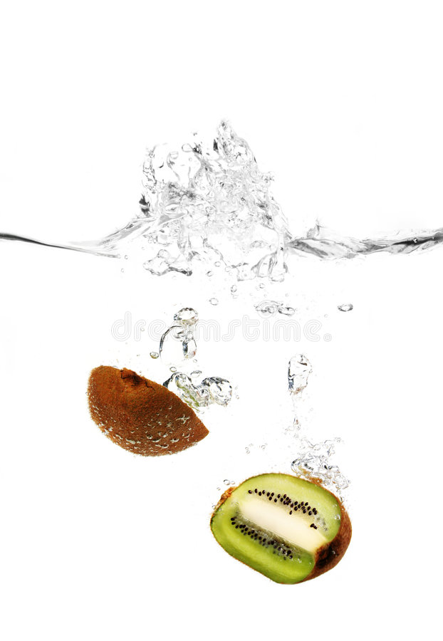 Kiwi in water. Water drops and a Kiwi in water with a big splash stock photography