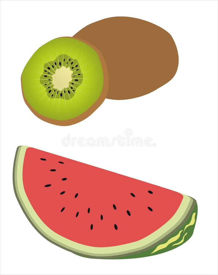 Download Kiwi and watermelon stock vector. Image of diet, dessert - 33505746