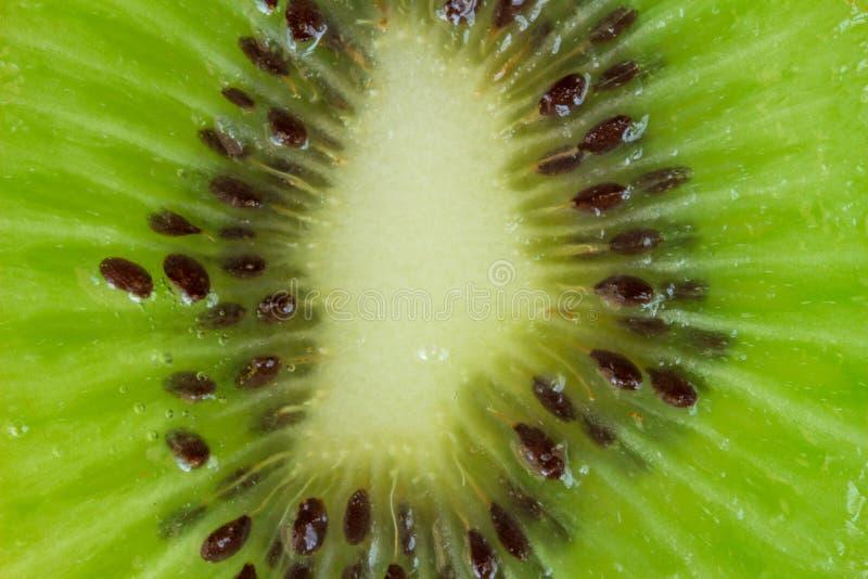 Kiwibakgrund - skiva av kiwislutet upp makrofotoet för bästa sikt arkivbilder